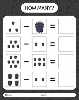 Combien de blackberry de jeu de comptage. feuille de travail pour les enfants d'âge préscolaire, feuille d'activité pour enfants, feuille de travail imprimable
