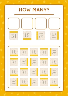 Combien de calendrier, jeu pour enfants. illustration vectorielle, feuille de calcul imprimable
