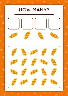 Combien de candy, jeu pour enfants. illustration vectorielle, feuille de calcul imprimable