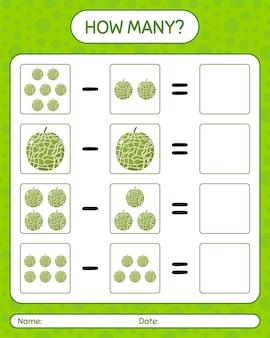 Combien de cantaloup de gibier à compter. feuille de travail pour les enfants d'âge préscolaire, feuille d'activité pour enfants, feuille de travail imprimable