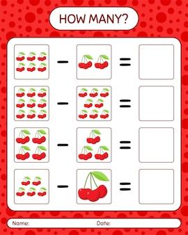 Combien de cerise de jeu de comptage. feuille de travail pour les enfants d'âge préscolaire, feuille d'activité pour enfants, feuille de travail imprimable