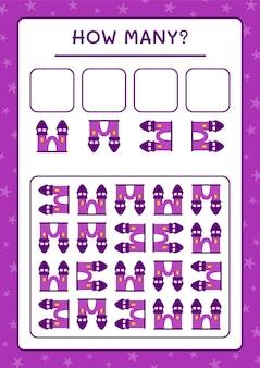 Combien de château, jeu pour enfants. illustration vectorielle, feuille de calcul imprimable