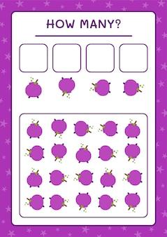 Combien de chaudron, jeu pour enfants. illustration vectorielle, feuille de calcul imprimable