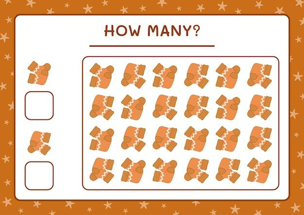 Combien de chaussettes de noël, jeu pour enfants. illustration vectorielle, feuille de calcul imprimable