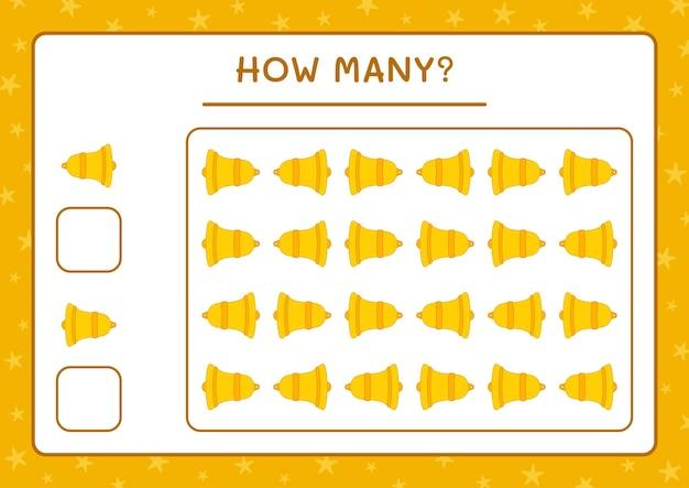 Combien de cloche de noël, jeu pour enfants. illustration vectorielle, feuille de calcul imprimable