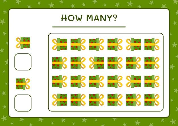 Combien de coffret cadeau, jeu pour enfants. illustration vectorielle, feuille de calcul imprimable