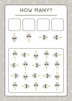 Combien de crâne avec bougie, jeu pour enfants. illustration vectorielle, feuille de calcul imprimable