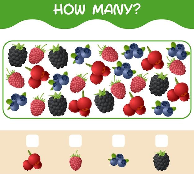 Combien de fruits de bande dessinée. jeu de comptage. jeu éducatif pour les enfants et les tout-petits de la pré-école