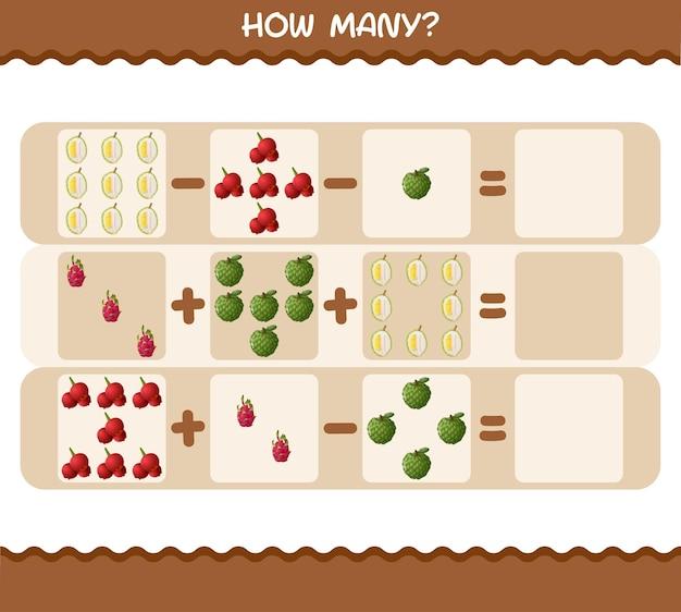 Combien de fruits de bande dessinée. jeu de comptage. jeu éducatif