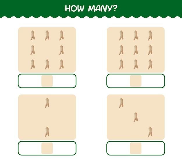 Combien de ginseng de dessin animé. jeu de comptage. jeu éducatif pour les enfants et les tout-petits de la maternelle