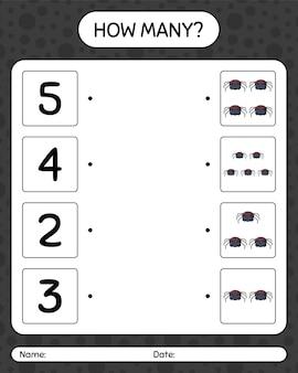 Combien de jeu de comptage avec l'araignée. feuille de travail pour les enfants d'âge préscolaire, feuille d'activité pour enfants