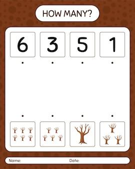 Combien de jeu de comptage avec arbre. feuille de travail pour les enfants d'âge préscolaire, feuille d'activité pour enfants