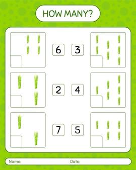 Combien de jeu de comptage avec des asperges. feuille de travail pour les enfants d'âge préscolaire, feuille d'activité pour enfants