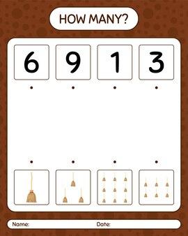 Combien de jeu de comptage avec un balai. feuille de travail pour les enfants d'âge préscolaire, feuille d'activité pour enfants