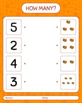 Combien de jeu de comptage avec ballon. feuille de travail pour les enfants d'âge préscolaire, feuille d'activité pour enfants