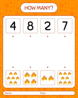 Combien de jeu de comptage avec des bonbons au maïs. feuille de travail pour les enfants d'âge préscolaire, feuille d'activité pour enfants