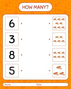 Combien de jeu de comptage avec des bonbons. feuille de travail pour les enfants d'âge préscolaire, feuille d'activité pour enfants