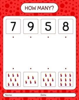 Combien de jeu de comptage avec bougie. feuille de travail pour les enfants d'âge préscolaire, feuille d'activité pour enfants