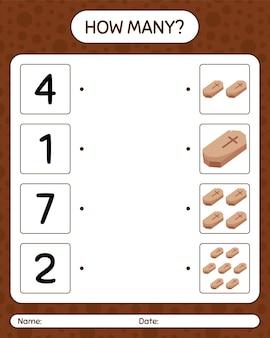 Combien de jeu de comptage avec cercueil. feuille de travail pour les enfants d'âge préscolaire, feuille d'activité pour enfants