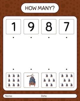 Combien de jeu de comptage avec chauve-souris. feuille de travail pour les enfants d'âge préscolaire, feuille d'activité pour enfants
