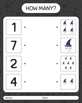 Combien de jeu de comptage avec le crâne. feuille de travail pour les enfants d'âge préscolaire, feuille d'activité pour enfants