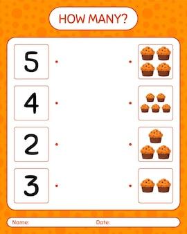 Combien de jeu de comptage avec cupcake. feuille de travail pour les enfants d'âge préscolaire, feuille d'activité pour enfants