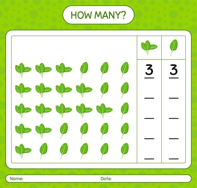 Combien de jeu de comptage avec des épinards. feuille de travail pour les enfants d'âge préscolaire, feuille d'activité pour enfants, feuille de travail imprimable