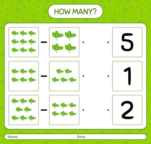 Combien de jeu de comptage avec des épinards. feuille de travail pour enfants d'âge préscolaire, feuille d'activité pour enfants, feuille de travail imprimable