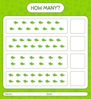 Combien de jeu de comptage avec des épinards. feuille de travail pour les enfants d'âge préscolaire, feuille d'activité pour enfants