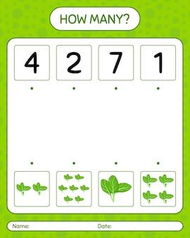 Combien de jeu de comptage avec des épinards. feuille de travail pour les enfants d'âge préscolaire
