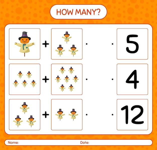 Combien de jeu de comptage avec épouvantail. feuille de travail pour les enfants d'âge préscolaire, feuille d'activité pour enfants