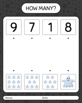 Combien de jeu de comptage avec fantôme. feuille de travail pour les enfants d'âge préscolaire, feuille d'activité pour enfants