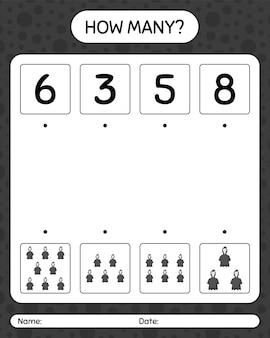 Combien de jeu de comptage avec la faucheuse. feuille de travail pour les enfants d'âge préscolaire, feuille d'activité pour enfants