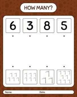 Combien de jeu de comptage avec faux. feuille de travail pour les enfants d'âge préscolaire, feuille d'activité pour enfants