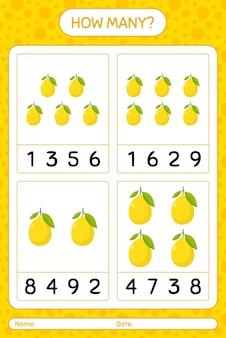Combien de jeu de comptage avec feuille de calcul au citron pour les enfants d'âge préscolaire, feuille d'activité pour enfants, feuille de calcul imprimable