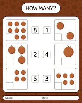 Combien de jeu de comptage avec feuille de calcul de fruits pour les enfants d'âge préscolaire, feuille d'activité pour enfants, feuille de travail imprimable