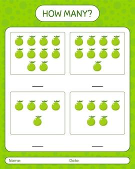 Combien de jeu de comptage avec feuille de calcul de goyave pour les enfants d'âge préscolaire, feuille d'activité pour enfants, feuille de travail imprimable