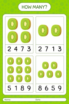 Combien de jeu de comptage avec feuille de calcul de kiwi pour les enfants d'âge préscolaire, feuille d'activité pour enfants, feuille de calcul imprimable