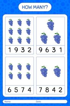 Combien de jeu de comptage avec feuille de calcul de myrtille pour les enfants d'âge préscolaire, feuille d'activité pour enfants, feuille de calcul imprimable