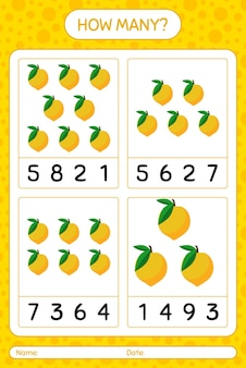 Combien de jeu de comptage avec feuille de calcul pour les enfants d'âge préscolaire, feuille d'activité pour enfants, feuille de travail imprimable