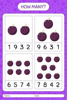 Combien de jeu de comptage avec feuille de calcul prune pour enfants d'âge préscolaire, feuille d'activité pour enfants, feuille de travail imprimable