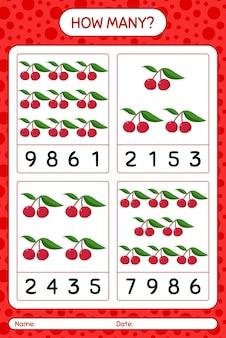 Combien de jeu de comptage avec feuille de calcul de pruneau indien pour les enfants d'âge préscolaire, feuille d'activité pour enfants, feuille de travail imprimable