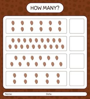 Combien de jeu de comptage avec feuille de calcul sapote pour les enfants d'âge préscolaire, feuille d'activité pour enfants, feuille de calcul imprimable