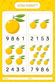 Combien de jeu de comptage avec feuille de calcul yuzu pour les enfants d'âge préscolaire, feuille d'activité pour enfants, feuille de travail imprimable