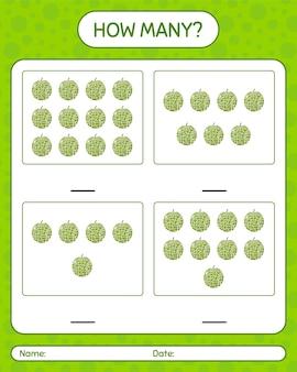 Combien de jeu de comptage avec feuille de travail de cantaloup pour les enfants d'âge préscolaire, feuille d'activité pour enfants, feuille de travail imprimable