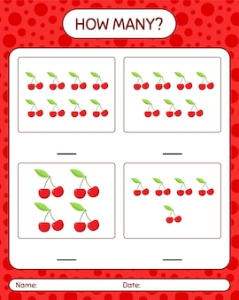 Combien de jeu de comptage avec feuille de travail de cerise pour les enfants d'âge préscolaire, feuille d'activité pour enfants, feuille de travail imprimable