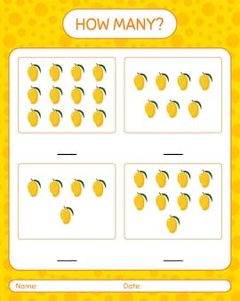 Combien de jeu de comptage avec feuille de travail de mangue pour les enfants d'âge préscolaire, feuille d'activité pour enfants, feuille de travail imprimable