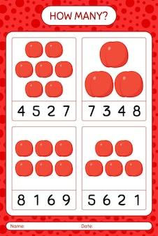Combien de jeu de comptage avec feuille de travail de nectarine pour les enfants d'âge préscolaire, feuille d'activité pour enfants, feuille de travail imprimable