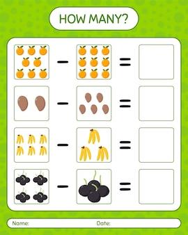 Combien de jeu de comptage avec des fruits. feuille de travail pour les enfants d'âge préscolaire, feuille d'activité pour enfants, feuille de travail imprimable