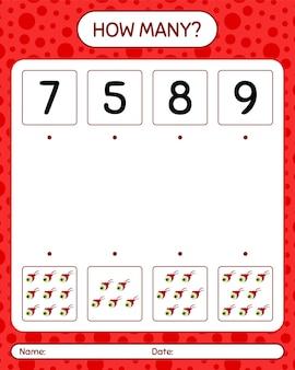 Combien de jeu de comptage avec globe oculaire. feuille de travail pour les enfants d'âge préscolaire, feuille d'activité pour enfants